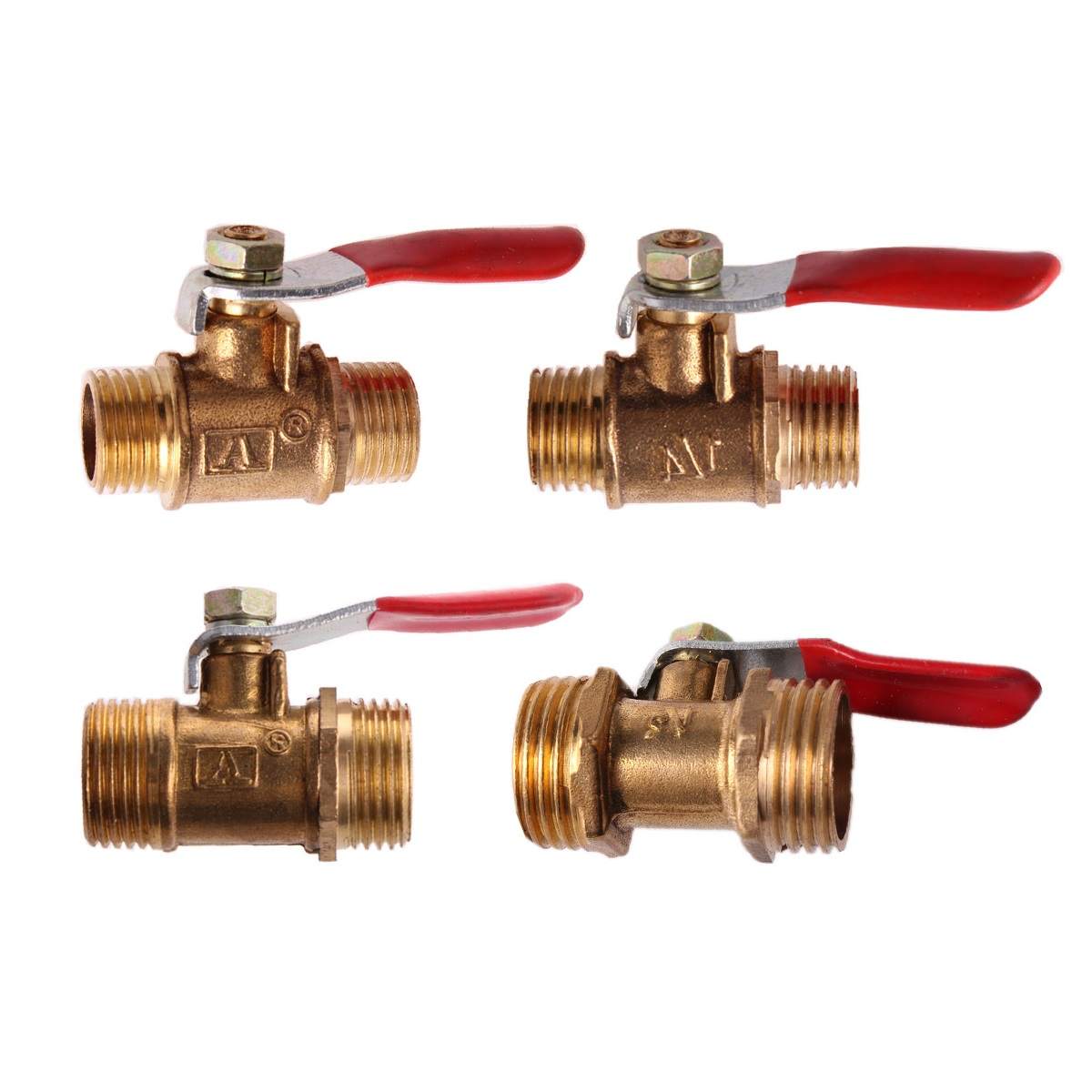 Brass Ball Valve 1/8 1/4 3/8 1/2 Male to Male BSP Thread with Red Lever Handle Connector Joint Pipe Fitting Coupler Adapter image