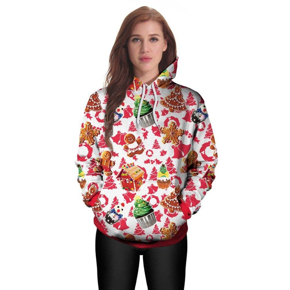 Winter Women Christmas Hoodies Loose Print Long-sleeved Breathable Pullovers Female Skin-friendly Hooded Sweatshits 2017 New Hot