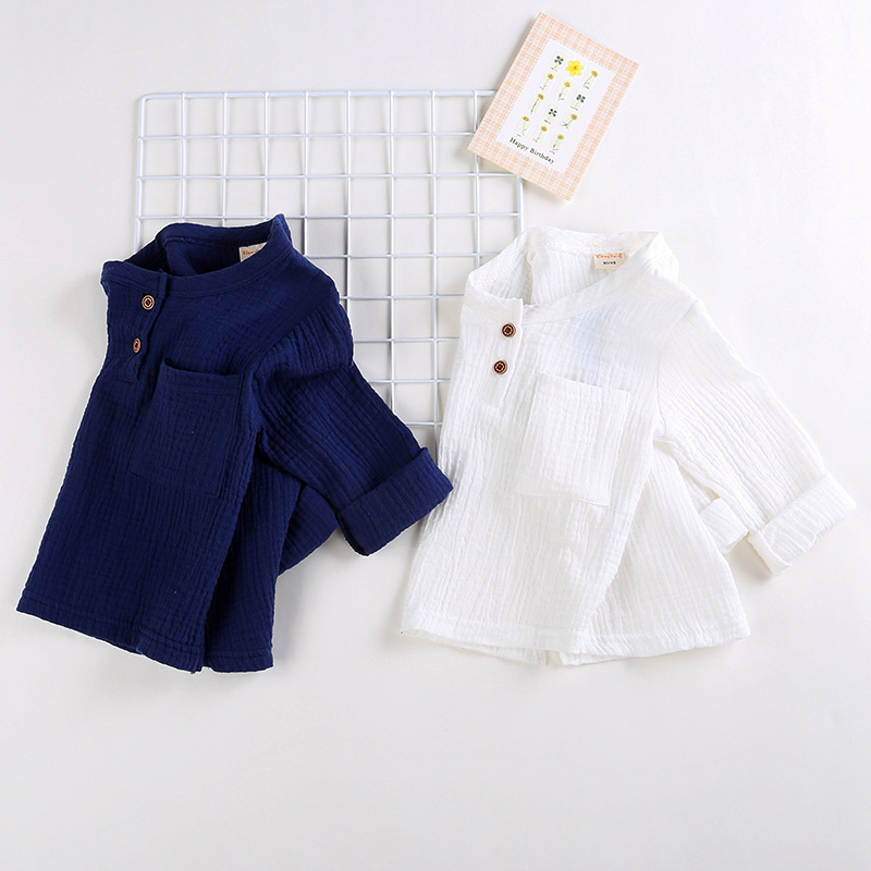 Spring Baby Boys Solid Pockets Long Sleeve O Neck T-shirt Kids Cotton Basic Casual Tops Infant Girls Clothes roupas de bebe