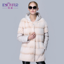 Women's fur down coats real mink fur jacket removed hat and sleeve coats for winter good quality women's winter jackets