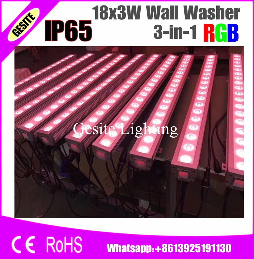 Cooperative 2pcs/lot 18x3w Rgb Waterproof Led Wall Washer Light 3in1 Triple Color Mixing 25 Degree Lens Waterproof Dmx Fashionable And Attractive Packages Commercial Lighting Stage Lighting Effect