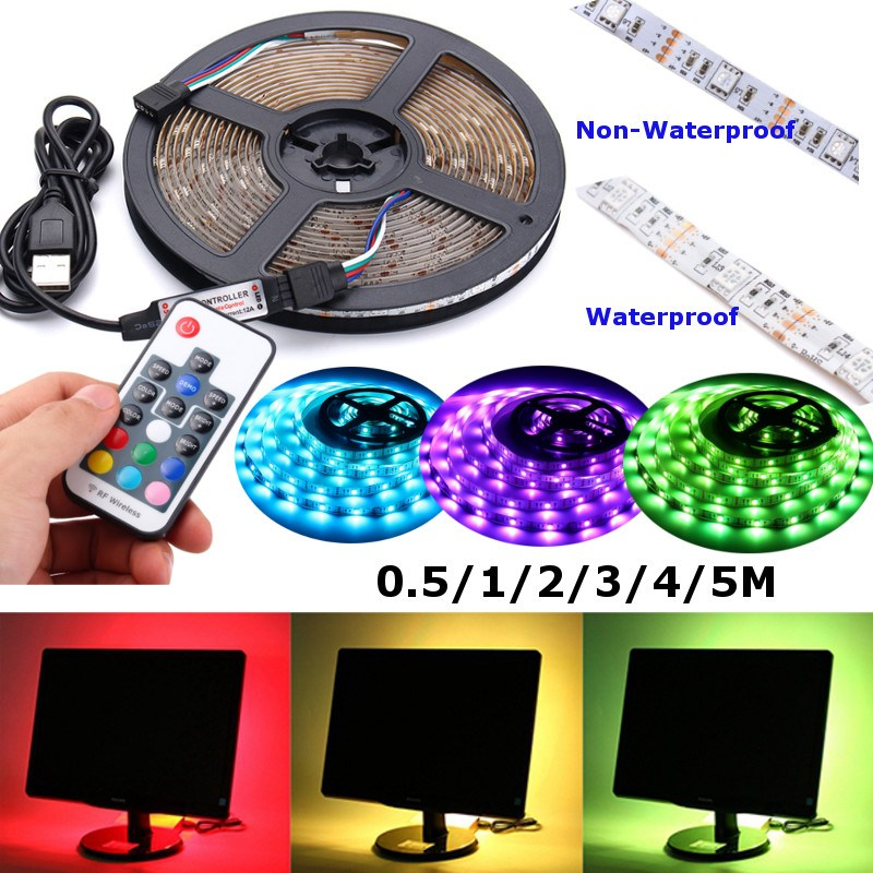 Non Waterproof/Waterproof 0.5/1/2/3/4/5M 5V USB RGB LED Strip Light 5050 String Lamp TV Back Lighting Kit Remote Control