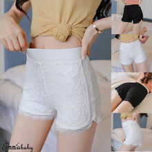 Women Lace Short pants Under Bodycon Shorts Ladies Invisible Seamless High Waist Fitness Black White