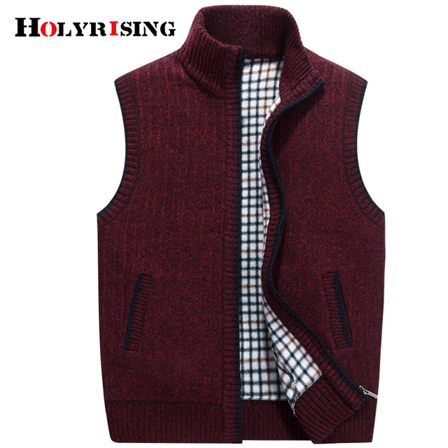 Holyrising Men Sweater Vest Casual Sleeveless Knittedwear Warm Sweaters Zipper Jaquetas Masculinas Para Solid Male Coats 18318-5