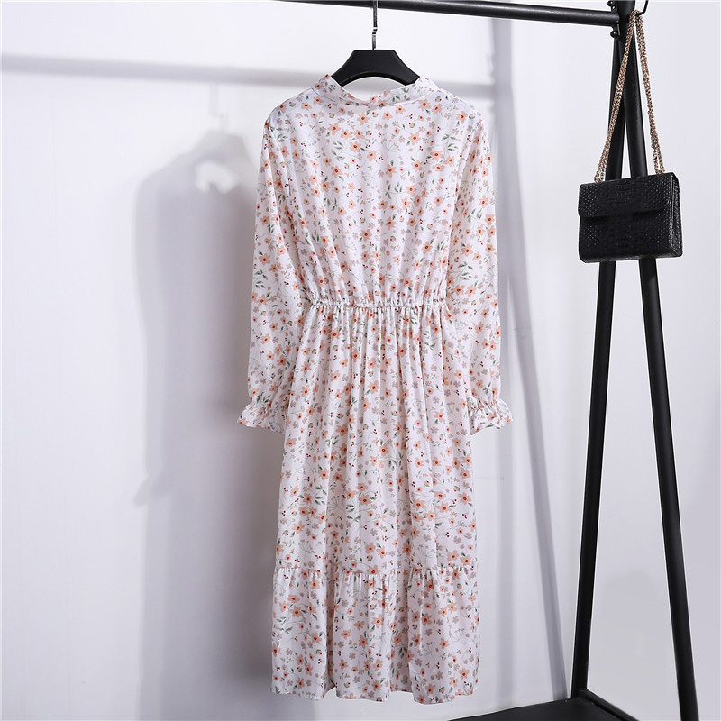 Summer Korean Chiffon Women Dress Elegant Ladies Vintage Long Dress Boho Floral Office Long Sleeve Vestidos Clothing 5LYQ003 29