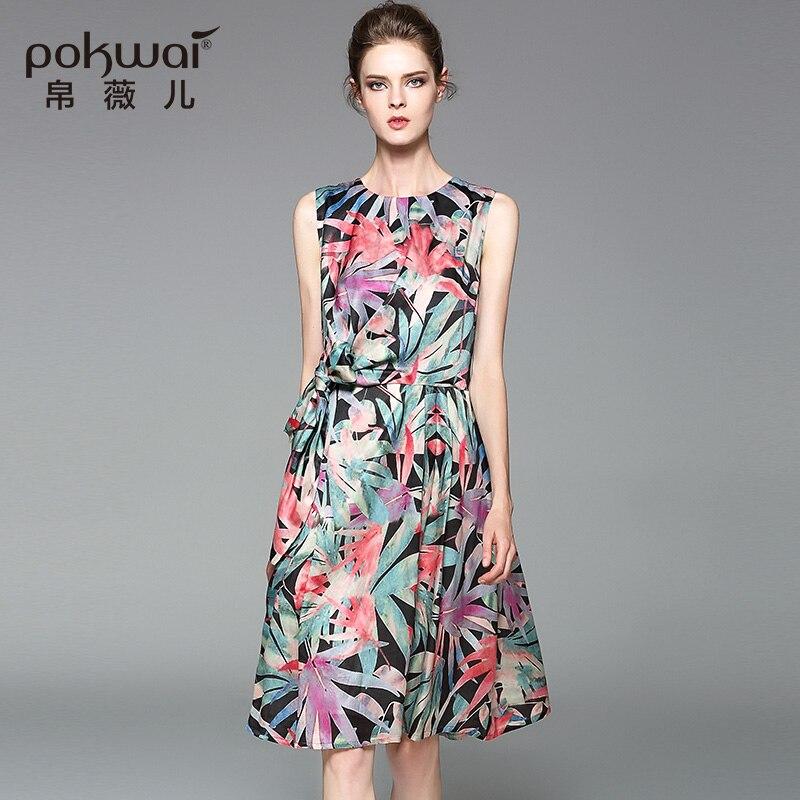 1b56fb4bb9b Pokwai элегантный Повседневное летние шелковые Хлопковое платье Для женщин  Мода Высокое качество Новинка 2017 года o-образным вырезом без рукав.