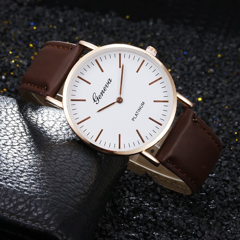 Relogios Fashion Classic Simple Style Men Women Geneva Quartz Watch Black Brown Leather Straps Lady Dress Watch Hot Sale Reloj