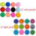 12 unids Brillo de Uñas + 12 unids de color Polvo de Acrílico Decoración de Uñas Para Diseño de Arte falso Del Clavo de Acrílico UV Gel Del Clavo Del Constructor Kit