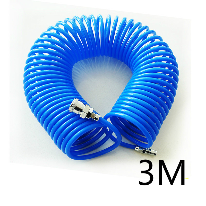 3m The wind pipe PU spring tube air compressor pump pipe 5*8 with joint flexible hose with spiral pipe joint uxcell 16ft 8mm inner dia clear plastic pvc hose pipe tube for tank air pump aquarium