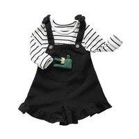 2017 Niñas Ropa Conjuntos de Camiseta A Rayas Tops + Shorts Liguero Trajes Encantadores de los Bebés Trajes Traje * 2 Unids diversión