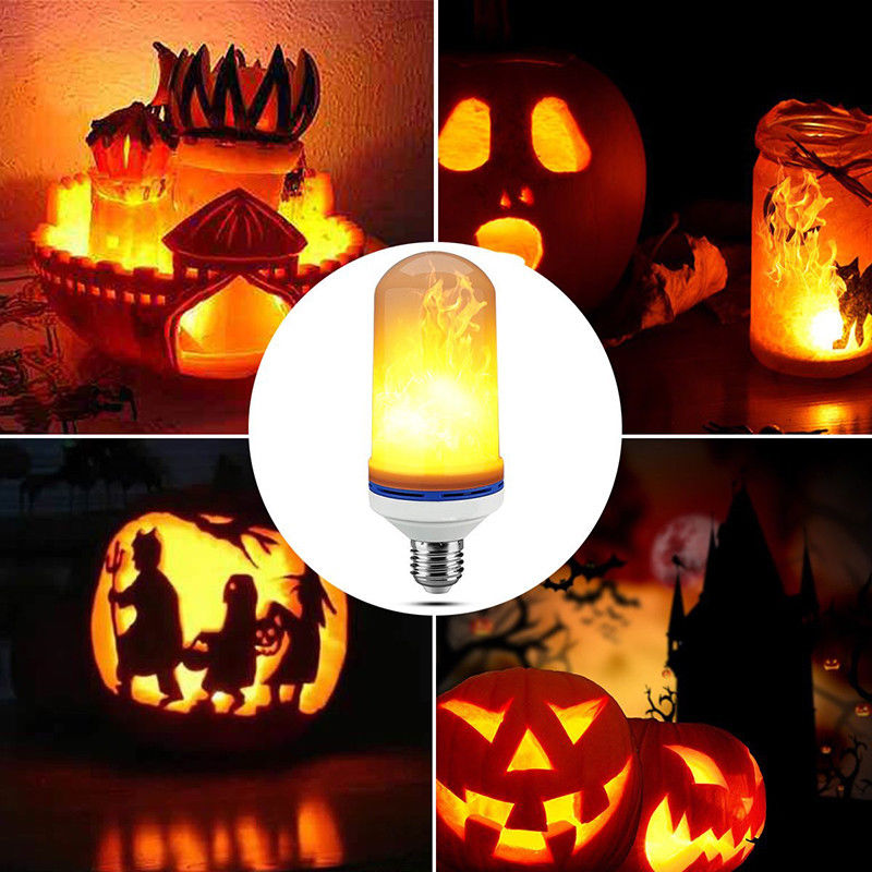 LED Flame Effect Fire Light Bulb E27 Flickering Flame Lamp Simulated Decorative