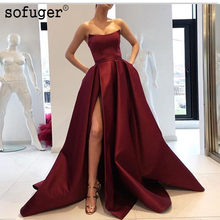 Burgundy Muslim Evening Dresses 2019 A-line Slit Sexy Elegant Islamic Dubai Saudi Arabic Long Formal Gown Prom Dress