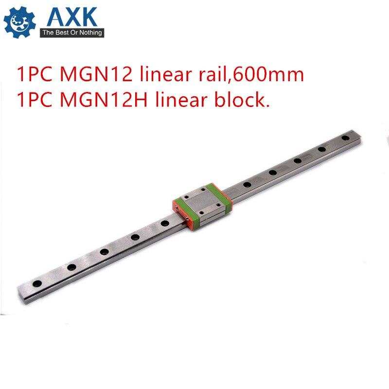 Linear Slide Carriage Kossel 12mm :1 Pc L-600mm Rail+1 Guide Rail Set Mgn12 Cnc 1pc Rail,600mm Motion Guideway Bearing Steel
