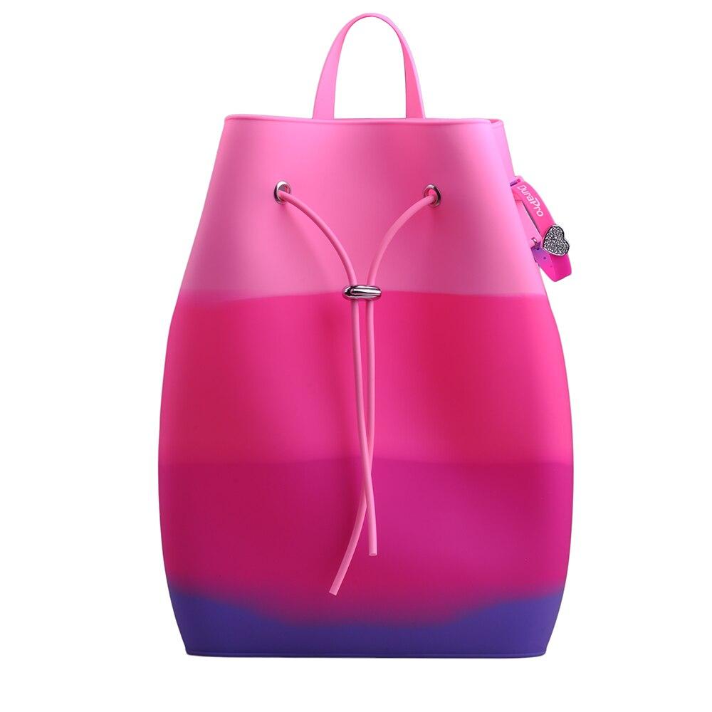 d9b99e0fe1b57 Silikon Rucksack Teenager Mädchen Mode Taschen Süße Candy Farben Kinder Rucksäcke  Schöne für Kinder Satchel Frauen Tasche + Armband