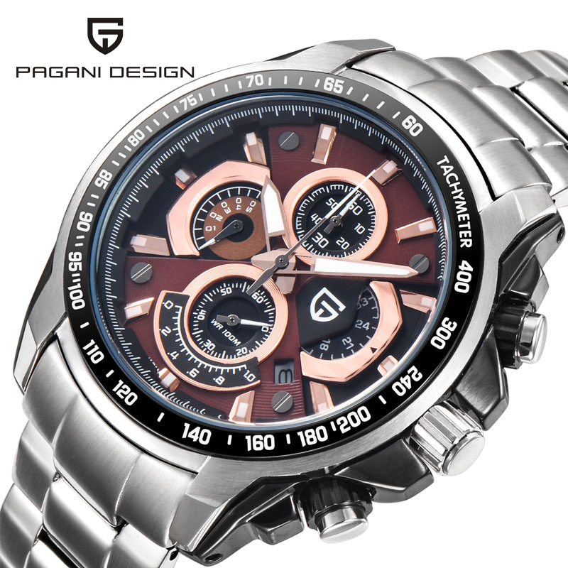 2017 New Brand PAGANI DESIGN Watches Men Stainless Steel Quartz Watch Fashion Casual Male Business Wristwatch Relogio Masculino new arrival 2015 brand quartz men casual watches v6 wristwatch stainless steel clock fashion hours affordable gift