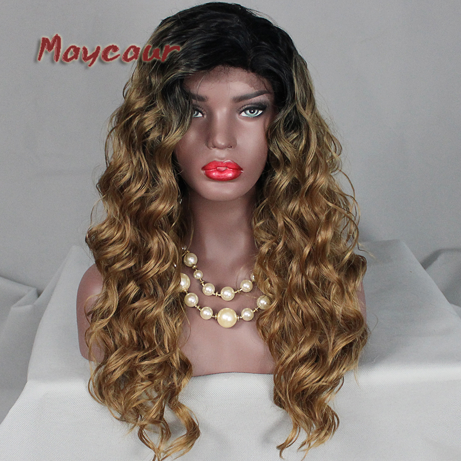 Black Roots Ombre Brown Color Wigs Synthetic Lace Front Wigs for Women Lace Wig Loose Curly Synthetic Lace Wig