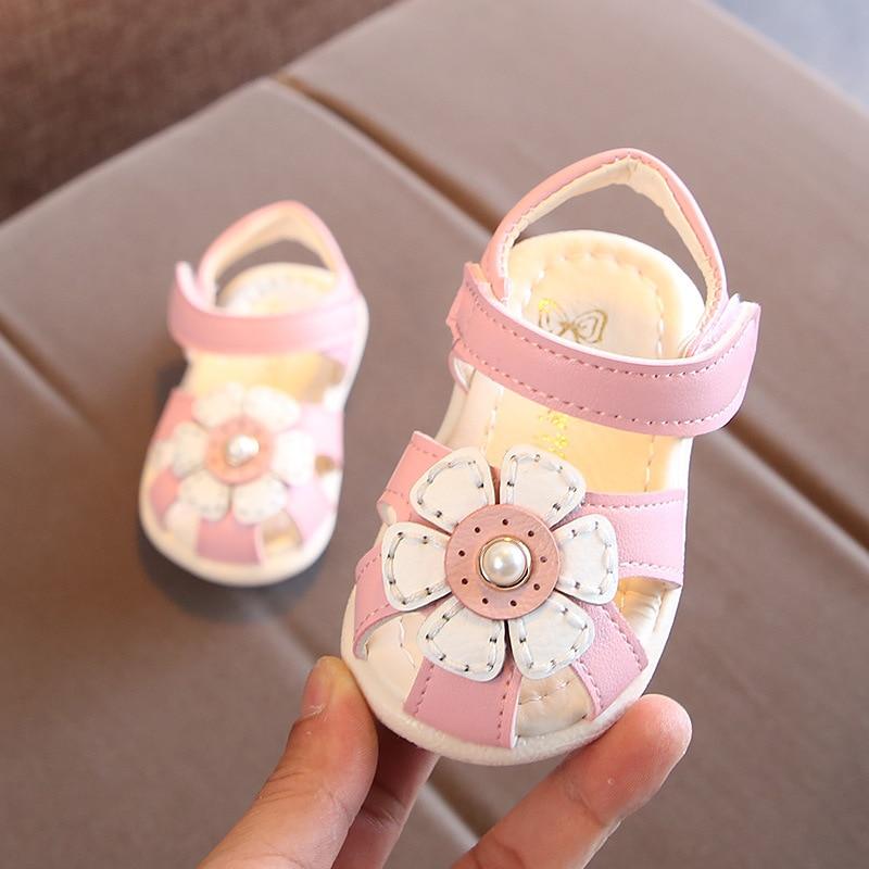 Baby Sandals Summer Girls Shoes Flower Kids Fashion Sandals Little Children Soft Bottom Toddler Shoes Cute Sandals