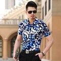 Nova Moda Verão 2016 Camisas Dos Homens Causal Slim Fit Camisa Floral masculino Top Qualidade do Algodão Dos Homens de Manga Curta Roupas Tamanho Grande 7XL-M