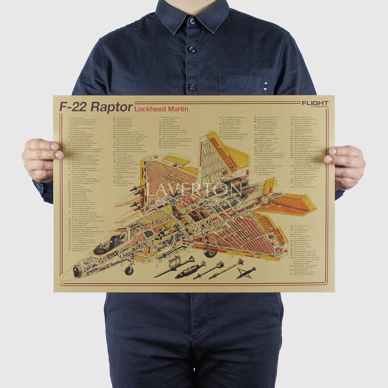 F-22 Raptor / Famous Weapon design /Fighter/ kraft paper / Wall Stickers/Retro Poster/decorative painting 51x35.5cm