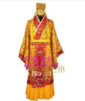 Лидер продаж золото китайский император традиционный Древний костюм Для мужчин шелковой атласной этап вышивать платье один размер Gzf 21