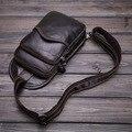 High Quality 100% Genuine Leather Men Chest Bags Male Sling Messenger Shoulder Bag With Inside Buckle Cover Pocket Retro packs