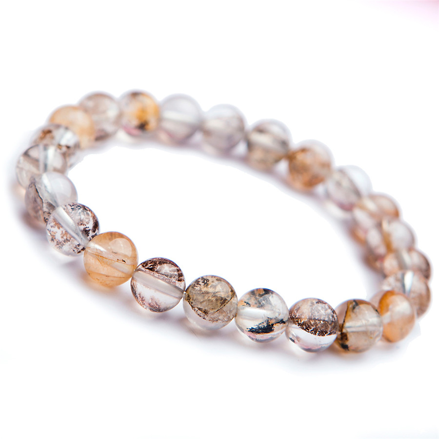 Genuine Natural Yellow Transparent Petrified Wood Tree Crystal Stretch Charm Round Bead Bracelets 8mm genuine yellow natural quartz crystal bracelets for women mens pixiu transparent charm stretch round bead bracelet