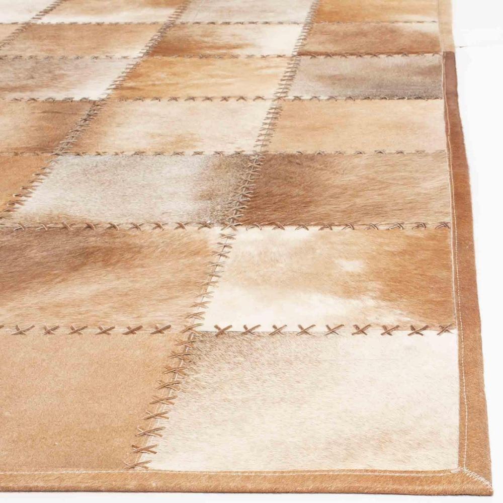 Peau de daim/marron clair Patchwork peau de vache naturelle tapis ...