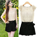 2016 Summer Style Lace  Shorts Women Sleeveless Casual  Womens Clothing 2 Colors plus size S-XXL