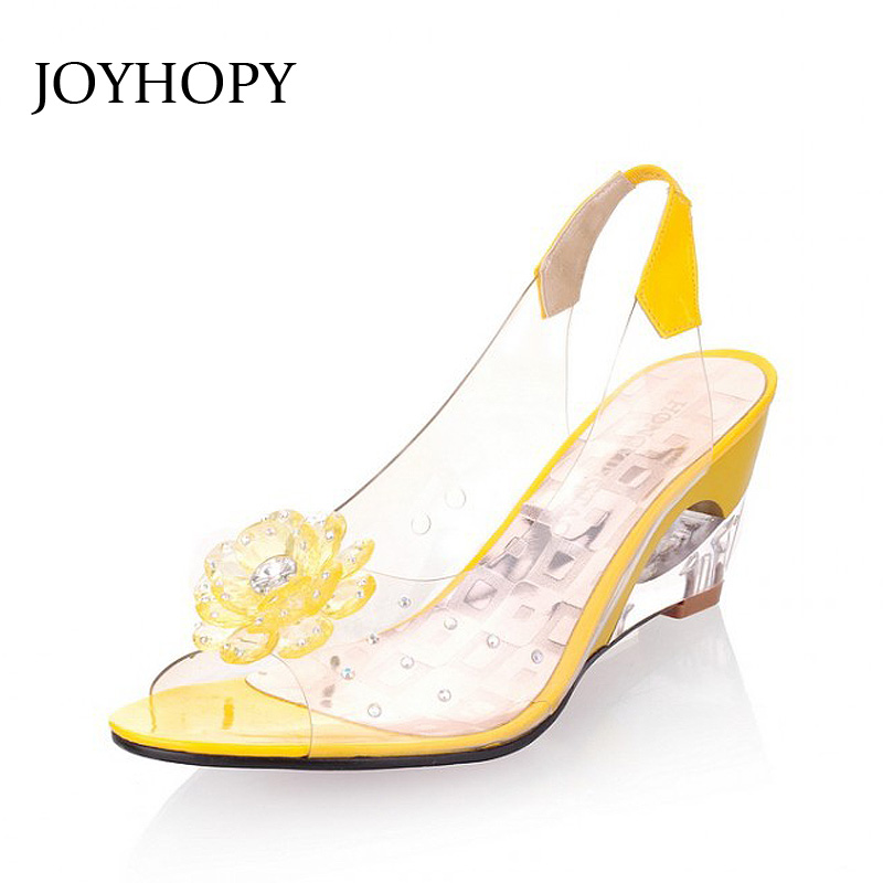 JOYHOPY Women Peep Toe Wedge Sandals Flowers Sweet Jelly Shoes Summer High  Heels Sandals Woman Shoes For Lady Size Plus 35-43 3c7f0e2e418b
