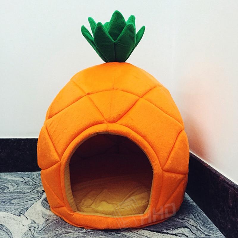 Canil criativo ninho de gato cão de pelúcia fruta banana abacaxi melancia algodão cama quente produtos para animais estimação dobrável casa do cão
