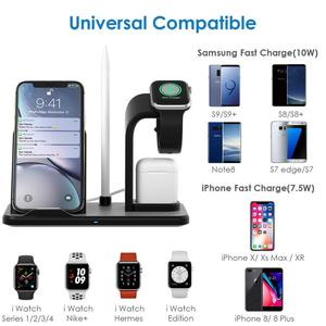 Image 3 - Беспроводное зарядное устройство FDGAO QI, подставка для iPhone 11, 8 Plus, X, XS Max, XR, 10 Вт, быстрая зарядка, док станция 4 в 1 для AirPods, Apple Watch