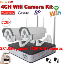 2 Cameras wireless Security system 720P IP Camera wifi kit Recorder NVR outdoor Onvif P2P 1.0MP CCTV Camera Kit support android