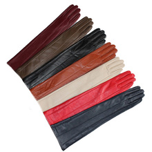 47cm(18.5) long lines style top sheep leather evening elbow gloves black red beige blue grey brown white
