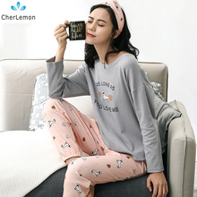 CherLemon Women's Comfort Autumn Sleepwear Two-Piece Cute Cartoon Dogs Pajamas Long Raglan Sleeve Top and Pants Pyjama Set