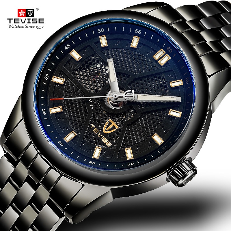 Brand TEVISE Watch Men Luxury Honeycomb Dial Stainless Steel Automatic Mechanical Watches Waterproof Male Wristwatches Relogio tevise men watch black stainless steel automatic mechanical men s watch luminous waterproof watch rotate dial mens wristwatches