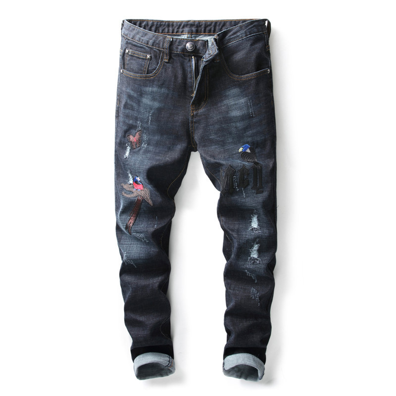 MORUANCLE New Mens Ripped Embroidered Jeans Slim Fit Straight Distressed Denim Pants Trousers For Man With Embroidery