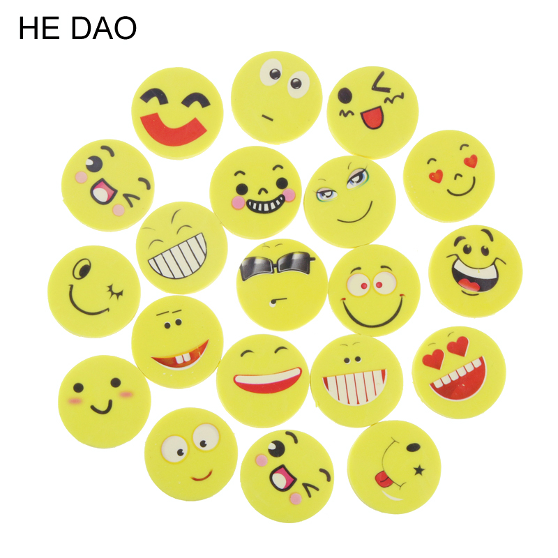 20 Pcs/lot Mini Cute Cartoon Kawaii Rubber Smile Face Eraser For Kids Gift School Supplies Korean Papelaria Free Shipping цена
