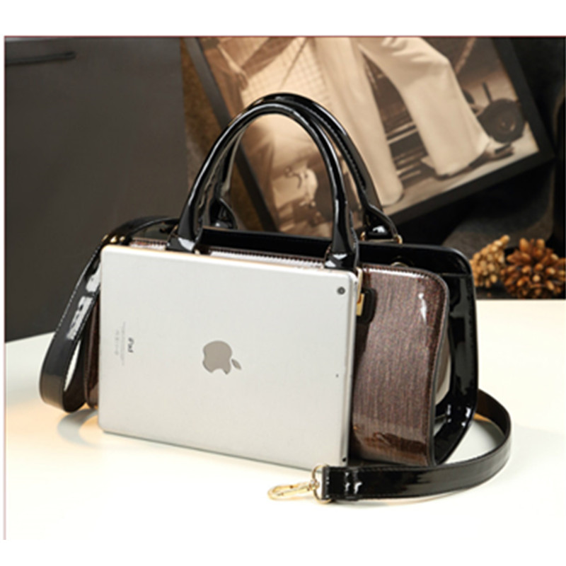ICEV New European Fashion Simple Diamonds Patent Leather Handbag Women Leather Handbags Panelled Ladies Big Totes Top Handle Bag in Top Handle Bags from Luggage Bags