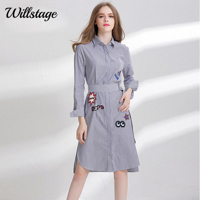 24b7c36e287 Willstage Plus size 4XL Dress Women Striped Printed Letter Embroidery  Pocket Shirts Dresses with Sashes Oversize