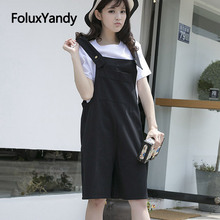 6 Colors Knee Length Overalls Women Pants Plus Size Trousers Casual Loose Suspenders Summer Pants SWM1350 2017 new summer sleeveless rompers men overalls black collapse pants suspenders jeans one piece trousers singer costumes pants