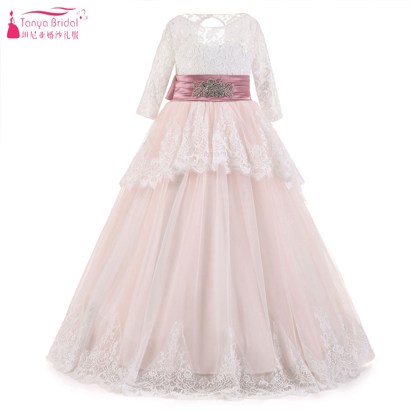 Blush Pink Lace Flower Girls Dresses Long Sleeve Fairy Princess A ...