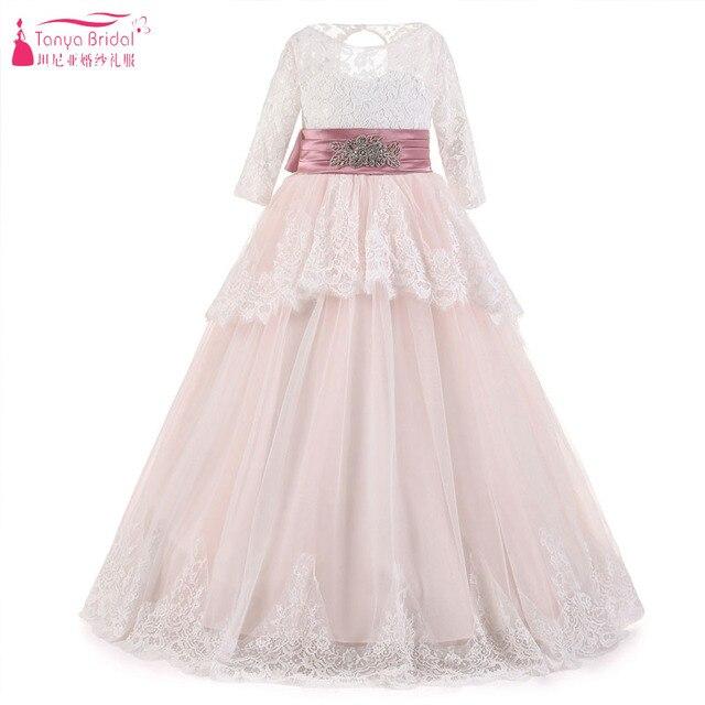 ed791e4e906 Blush Pink Lace Flower Girls Dresses Long Sleeve Fairy Princess A Line  Pageant Gowns Kids Cummunion Vestido Longo ZF071