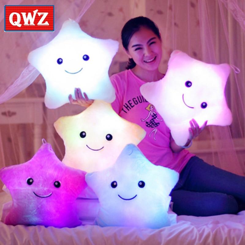 QWZ 1pcs 38cm Led Light Pillow Luminous ბალიში - პლუშები სათამაშოები - ფოტო 1