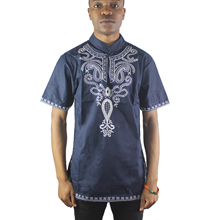 Africa Navy Blue Both Side Embroidery Men`s Dashiki Tops Mandarin Collar Side Slit Ethnic Shirts for Wedding Wearing цена
