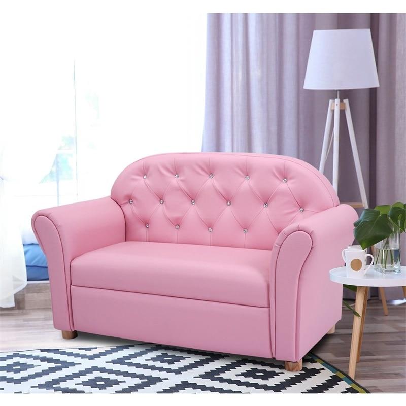 Enfants princesse accoudoir chaise salon canapé bois cadre éponge PVC enfants canapé HW54192