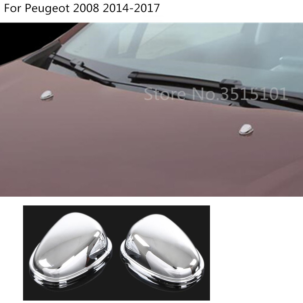 car styling cover head front Machine Water wash outlet stick frame trim 2pcs For Peugeot 2008 2014 2015 2016 2017 image