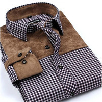 Patchwork Men Shirts Social Long Sleeve Plaid Brand Mens Fashion Brushed Flannel Slim Fit Shirt Formal