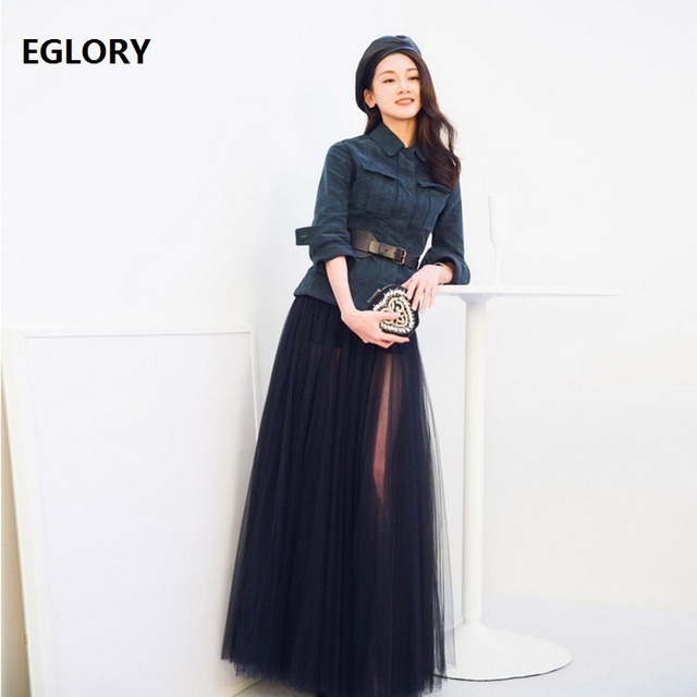 New Celebrity Style Clothing Sets Women Wide Belts Slim Coats Jacket+Black  Long Maxi Skirt Suits Spring Summer Autumn Coat Suits a960c4141