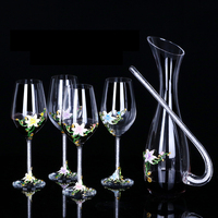 Lead free crystal Enamel glass cup and decanters set diamond flower desin wine goblet red wine pourer bar set drinkware gift