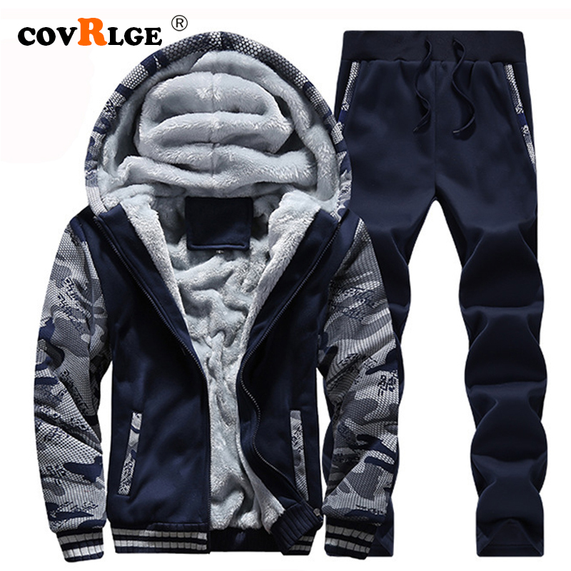 Covrlge 2019 Brand Tracksuit Men Thermal Men Sportswear Sets Fleece Thick Hoodie+Pants Sporting Suit Casual Sweatshirts MSX008